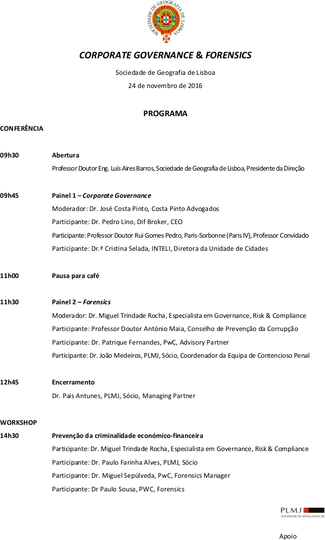 Programa Corporate Governance & Forensics